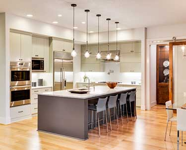 kitchen with steel appliances and lights