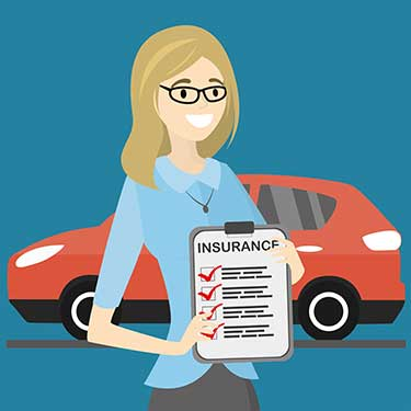 animation of woman with an insurance document checklist