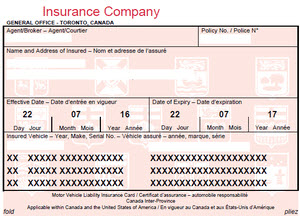 Proof Of Insurance In Ontario Car Insurance Liability Pink Slip