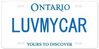 An Ontario personalized licence plate