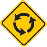 roundabout ahead sign