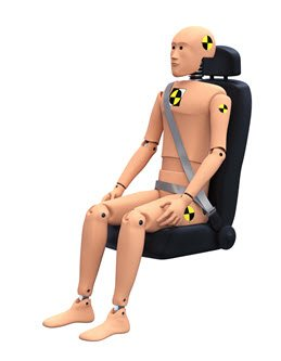 crash test dummy in a car seat