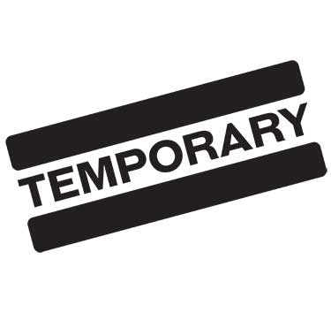 Black and white text of stamp with Temporary