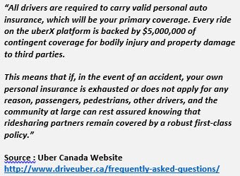 Quote from Uber's website regarding insurance coverage