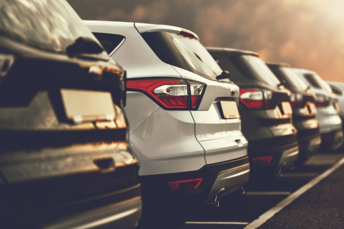 Used car lot with vehicles