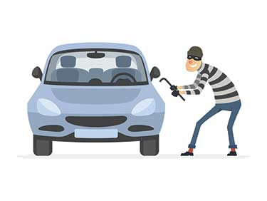illustration of a thief breaking into a car